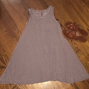 Maroon & white striped dress